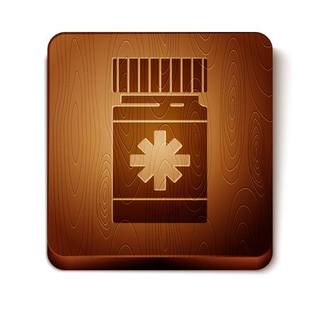 Brown Dog medicine bottle and pills icon isolated on white background. Container with pills. Prescription medicine for animal. Wooden square button. Vector Illustration Illustration