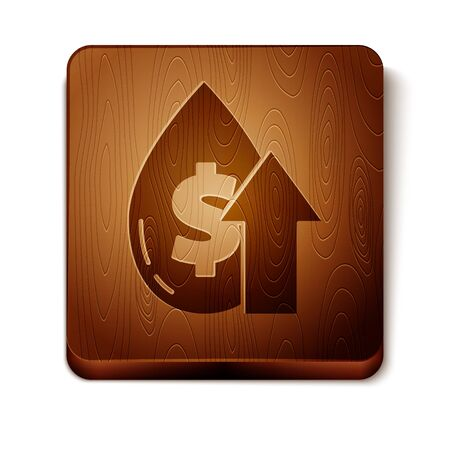 Brown Oil price increase icon isolated on white background. Oil industry crisis concept. Wooden square button. Vector Illustration