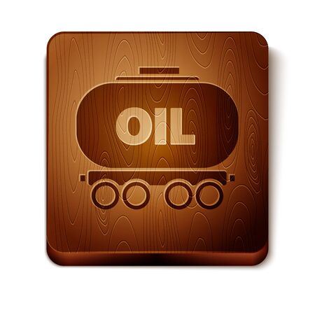 Brown Oil railway cistern icon isolated on white background. Train oil tank on railway car. Rail freight. Oil industry. Wooden square button. Vector Illustration Illustration