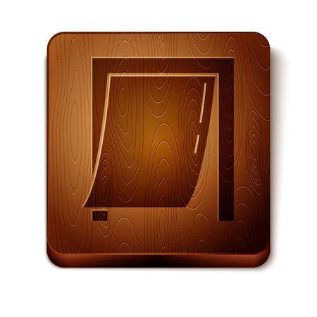 Brown Door for pet icon isolated on white background. Wooden square button. Vector Illustration