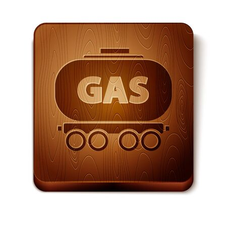 Brown Gas railway cistern icon isolated on white background. Train gasoline tank on railway car. Rail freight. Wooden square button. Vector Illustration