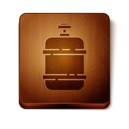 Brown Propane gas tank icon isolated on white background. Flammable gas tank icon. Wooden square button. Vector Illustration