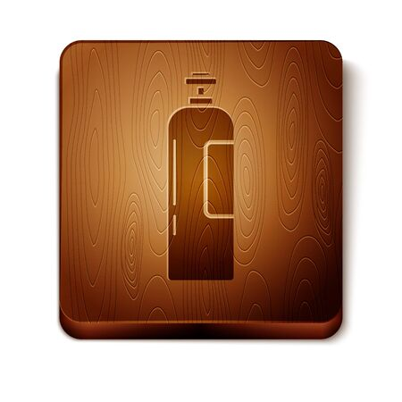 Brown Industrial gas cylinder tank for all inert and mixed inert gases icon isolated on white background. Wooden square button. Vector Illustration Illusztráció