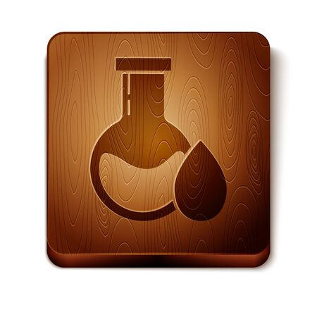 Brown Oil petrol test tube icon isolated on white background. Wooden square button. Vector Illustration
