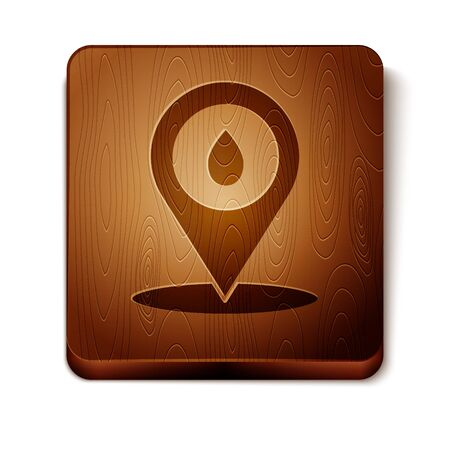 Brown Refill petrol fuel location icon isolated on white background. Gas station and map pointer. Wooden square button. Vector Illustration