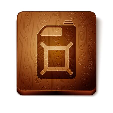 Brown Canister for gasoline icon isolated on white background. Diesel gas icon. Wooden square button. Vector Illustration