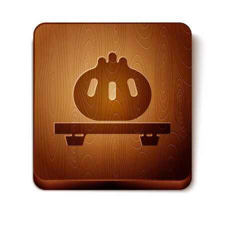 Brown Dumpling on cutting board icon isolated on white background. Traditional chinese dish. Wooden square button. Vector Illustration