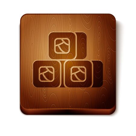 Brown Sushi icon isolated on white background. Traditional Japanese food. Wooden square button. Vector Illustration Illusztráció