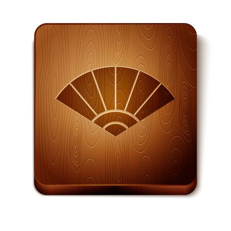 Brown Traditional paper chinese or japanese folding fan icon isolated on white background. Wooden square button. Vector Illustration Stock Illustratie