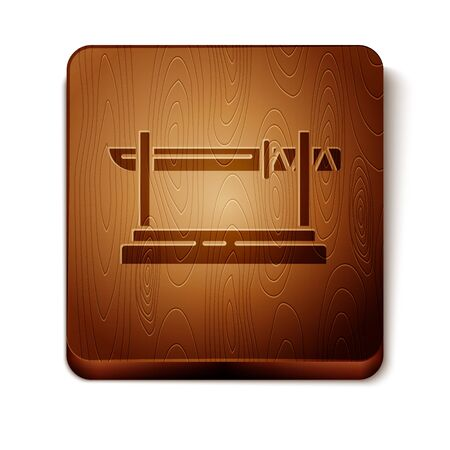 Brown Traditional Japanese katana on a wooden stand icon isolated on white background. Japanese sword. Wooden square button. Vector Illustration