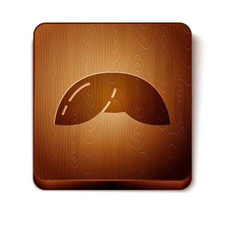 Brown Chinese fortune cookie icon isolated on white background. Asian traditional. Wooden square button. Vector Illustration