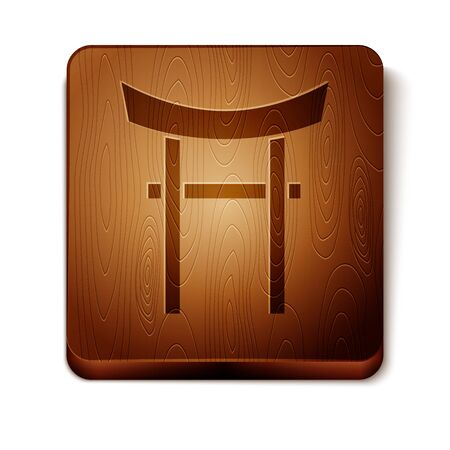 Brown Japan Gate icon isolated on white background. Torii gate sign. Japanese traditional classic gate symbol. Wooden square button. Vector Illustration