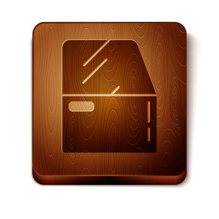 Brown Car door icon isolated on white background. Wooden square button. Vector Illustration Vettoriali