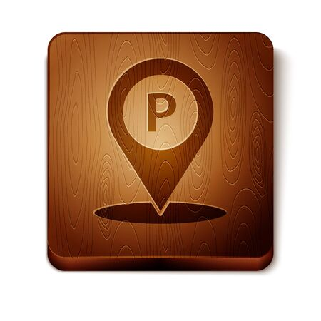 Brown Location with parking icon isolated on white background. Street road sign. Wooden square button. Vector Illustration
