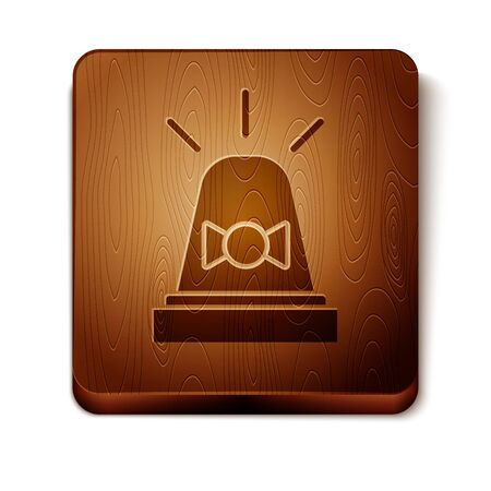 Brown Flasher siren icon isolated on white background. Emergency flashing siren. Wooden square button. Vector Illustration