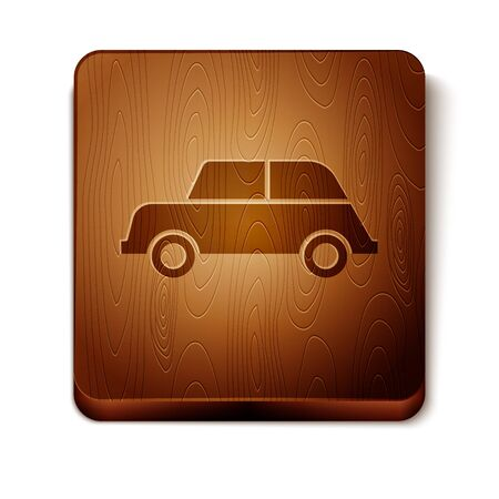 Brown Car icon isolated on white background. Wooden square button. Vector Illustration 일러스트