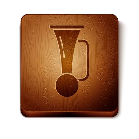 Brown Signal horn on vehicle icon isolated on white background. Wooden square button. Vector Illustration