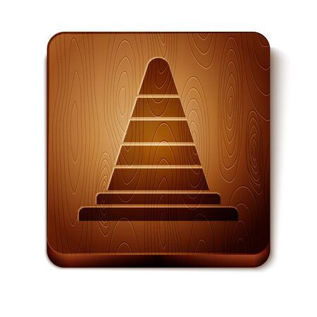 Brown Traffic cone icon isolated on white background. Wooden square button. Vector Illustration