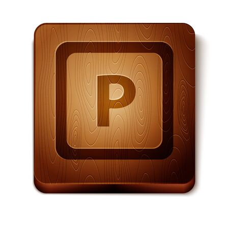 Brown Parking icon isolated on white background. Street road sign. Wooden square button. Vector Illustration
