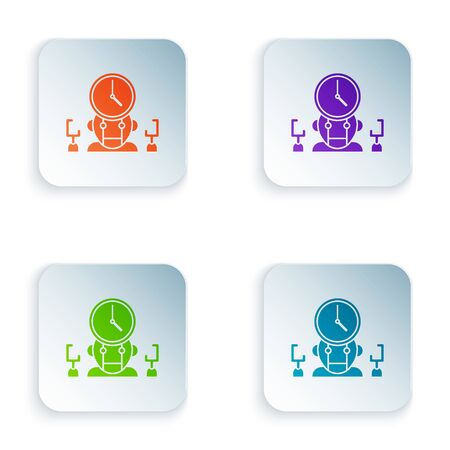Color Robot and digital time manager icon isolated on white background. Time management assistance, workflow optimization help. Set icons in square buttons. Vector Illustration