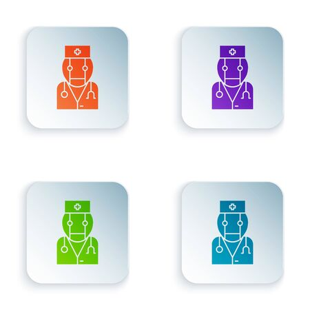 Color Robot doctor icon isolated on white background. Medical online consultation robotic silhouette artificial intelligence. Set icons in square buttons. Vector Illustration