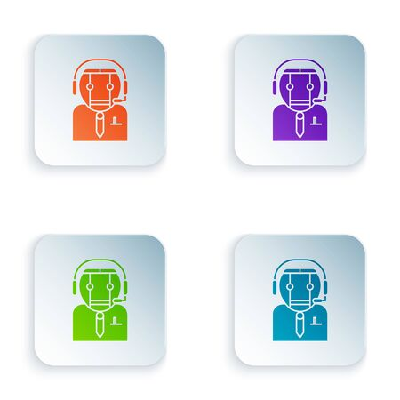 Color Worker robot icon isolated on white background. Set icons in square buttons. Vector Illustration Illustration