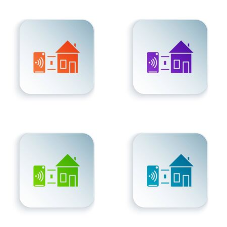 Color Smart home icon isolated on white background. Remote control. Set icons in square buttons. Vector Illustration Illustration