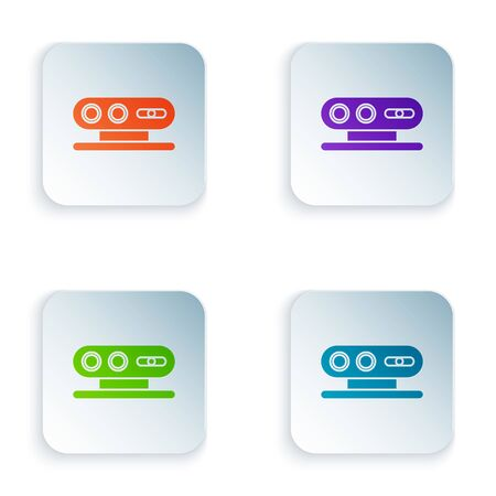 Color 3d scanning system icon isolated on white background. Set icons in square buttons. Vector Illustration Illustration
