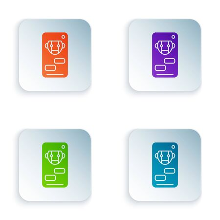 Color Bot icon isolated on white background. Robot icon. Set icons in square buttons. Vector Illustration Illustration