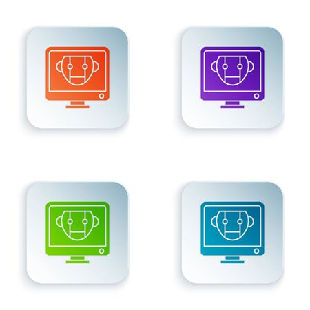 Color Bot icon isolated on white background. Computer monitor and robot icon. Set icons in square buttons. Vector Illustration