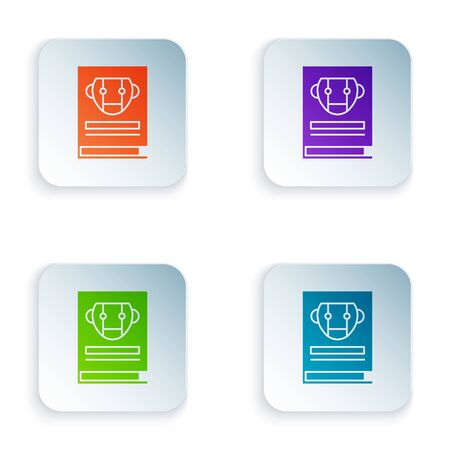 Color User manual icon isolated on white background. User guide book. Instruction sign. Read before use. Set icons in square buttons. Vector Illustration