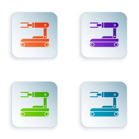 Color Robot icon isolated on white background. Set icons in square buttons. Vector Illustration
