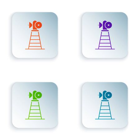 Color Antenna icon isolated on white background. Radio antenna wireless. Technology and network signal radio antenna. Set icons in square buttons. Vector Illustration