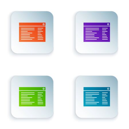 Color Software, web developer programming code icon isolated on white background. Javascript computer script random parts of program code. Set icons in square buttons. Vector Illustration