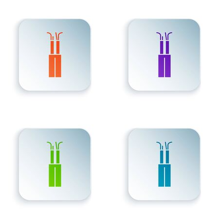 Color Electric cable icon isolated on white background. Set icons in square buttons. Vector Illustration Illusztráció