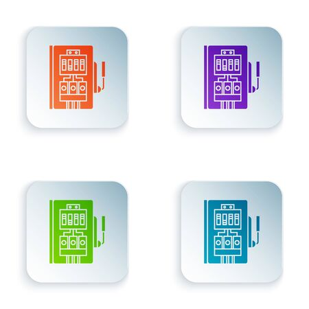 Color Electrical panel icon isolated on white background. Set icons in square buttons. Vector Illustration