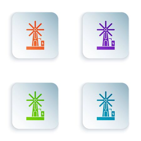 Color Wind turbine icon isolated on white background. Wind generator sign. Windmill for electric power production. Set icons in square buttons. Vector Illustration Ilustracja