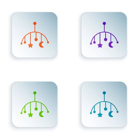 Color Baby crib hanging toys icon isolated on white background. Baby bed carousel. Set icons in square buttons. Vector Illustration