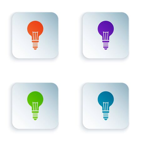 Color Light bulb with concept of idea icon isolated on white background. Energy and idea symbol. Inspiration concept. Set icons in square buttons. Vector Illustration 向量圖像