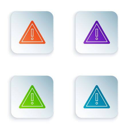 Color Exclamation mark in triangle icon isolated on white background. Hazard warning sign, careful, attention, danger warning important sign. Set icons in square buttons. Vector Illustration