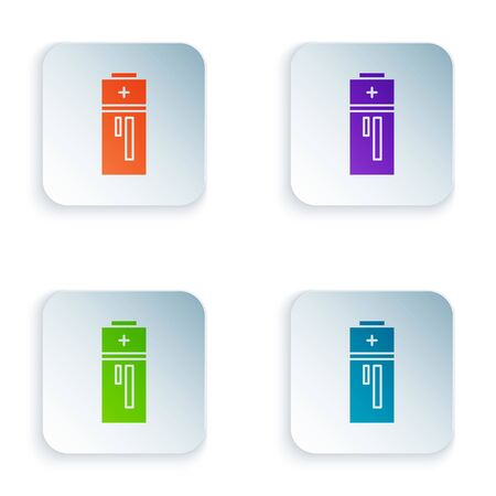 Color Battery icon isolated on white background. Lightning bolt symbol. Set icons in square buttons. Vector Illustration Ilustração