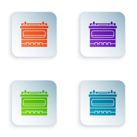 Color Car battery icon isolated on white background. Accumulator battery energy power and electricity accumulator battery. Set icons in square buttons. Vector Illustration