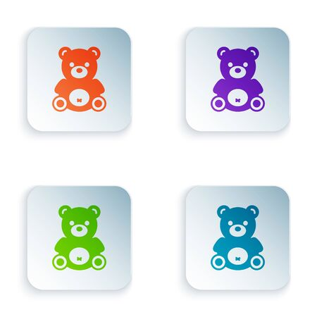Color Teddy bear plush toy icon isolated on white background. Set icons in square buttons. Vector Illustration Foto de archivo - 134874560