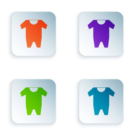 Color Baby clothes icon isolated on white background. Baby clothing for baby girl and boy. Baby bodysuit. Set icons in square buttons. Vector Illustration