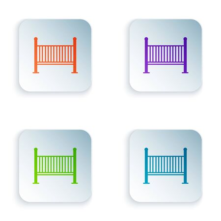 Color Baby crib cradle bed icon isolated on white background. Set icons in square buttons. Vector Illustration Ilustracja