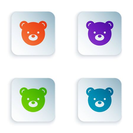Color Teddy bear plush toy icon isolated on white background. Set icons in square buttons. Vector Illustration Illusztráció