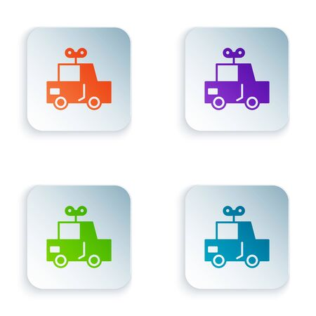 Color Toy car icon isolated on white background. Set icons in square buttons. Vector Illustration