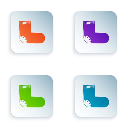 Color Baby socks clothes icon isolated on white background. Set icons in square buttons. Vector Illustration Ilustracja