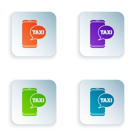 Color Taxi call telephone service icon isolated on white background. Taxi for smartphone. Set icons in square buttons. Vector Illustration