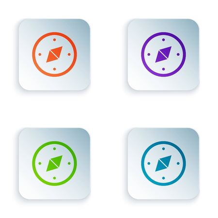 Color Compass icon isolated on white background. Windrose navigation symbol. Wind rose sign. Set icons in square buttons. Vector Illustration